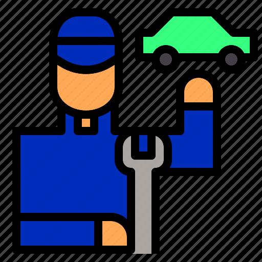 avatar, car, fixing, job, mechanic, occupation, worker icon