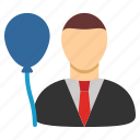 avatar, balloon, celebration, date, event manager, holiday, person icon