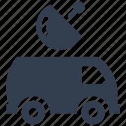 auto, broadcasting, dish, journalism, media, press, satellite, television, van, vehicle icon
