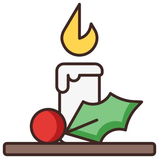 candle, cherry, christmas, mistletoe, silent night icon