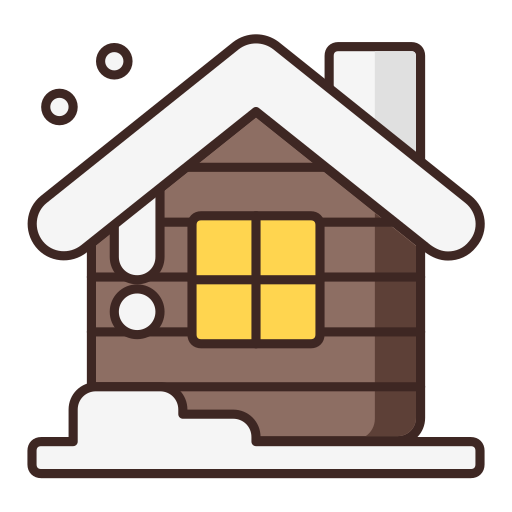 christmas, house, snow, winter, wooden house icon