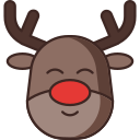 animal, deer, rudolph, santa claus icon