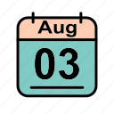 aug, august, calendar, date, schedule icon, th icon