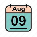 aug, august, calendar, date, schedule icon, we icon