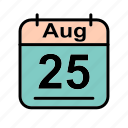 aug, august, calendar, date, fr, schedule icon icon