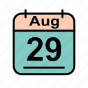 aug, august, calendar, date, schedule icon, tu icon