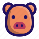 animal, farm, head, mammal, pig, piggy icon