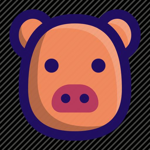 animal, farm, head, mammal, pig, piggy icon