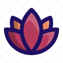 floral, flower, lotus, plant, yoga icon