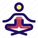 exercise, meditation, relax, relaxation, sit, yoga icon