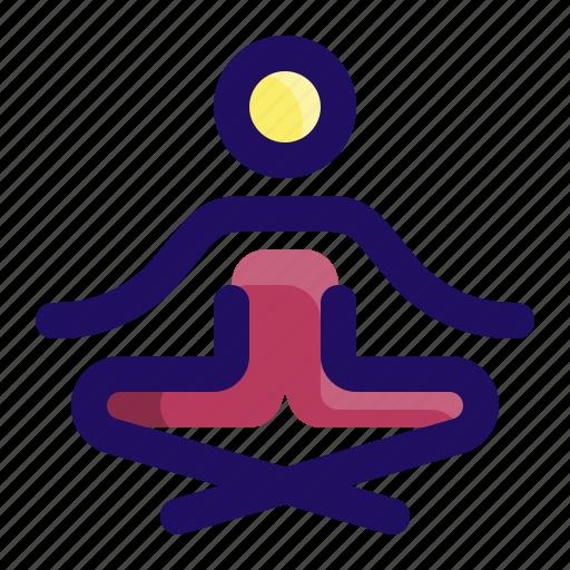 exercise, meditation, relax, relaxation, sit, yoga icon