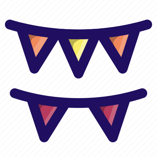 banner, birthday, bunting, decoration, flag, party icon