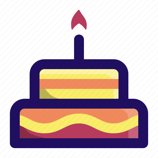 birthday, cake, candle, celebrate, fire, food icon