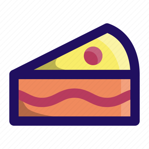 birthday, cake, cherry, dessert, food, slice icon