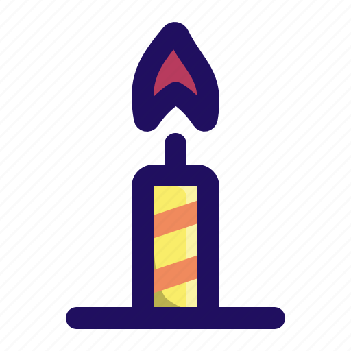 birthday, candle, celebrate, fire, party, stripes icon