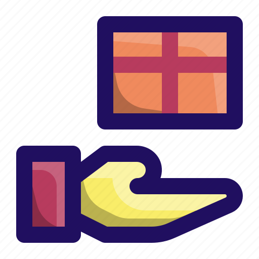 box, gift, give, hand, present, wrap icon