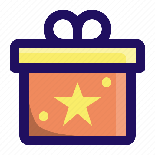 Box, star, gift, give, wrap, present icon