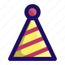 birthday, celebrate, hat, kids, party, stripes icon
