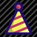 birthday, celebrate, hat, kids, party, stripes icon