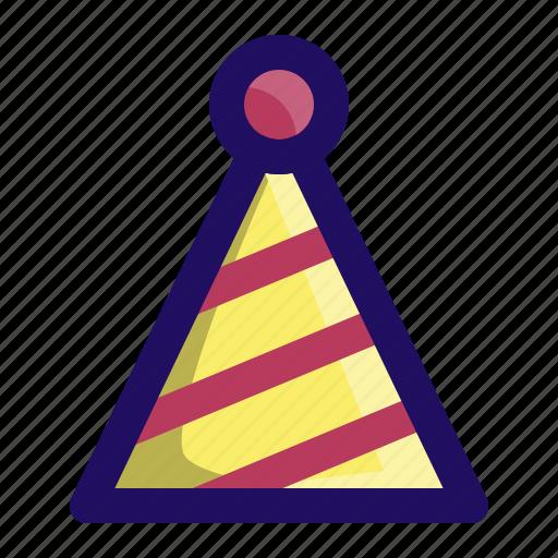 Kids, stripes, birthday, party, hat, celebrate icon
