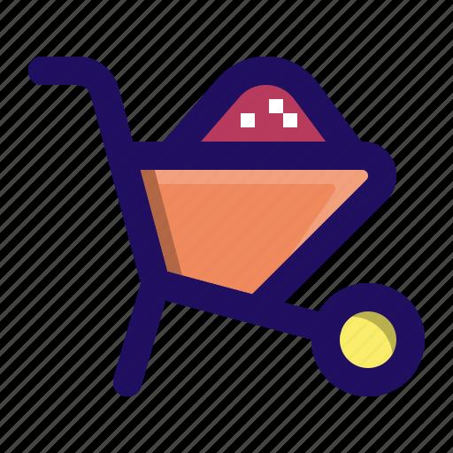 barrow, cart, construction, sand, tool, wheelbarrow icon