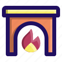 fire, fireplace, heat, home, house, warm icon