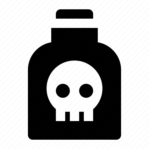 bottle, death, poison, potion, skull, toxic icon