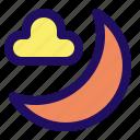 cloud, cloudy, moon, night icon