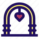 arch, celebration, love, marriage, wedding icon