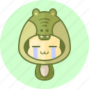animal, avatar, costume, crocodile, cute, kawai icon