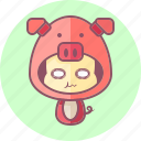 animal, avatar, costume, cute, kawai, pig