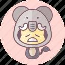animal, avatar, costume, cute, elephant, kawai icon