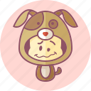 animal, avatar, costume, cute, dog, kawai icon