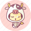 animal, avatar, costume, cow, cute, kawai icon