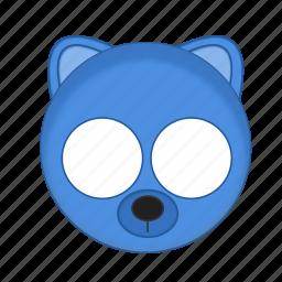 animal, bear, blue, kawaii, mask, pet icon