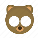 animal, bear, brown, kawaii, mask, pet icon