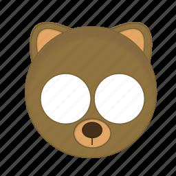 animal, bear, brown, kawaii, mask, pet icon