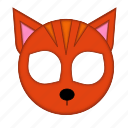 animal, cat, ginger, kawaii, mask, pet, strapped icon