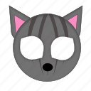 animal, cat, grey cat, mask, pet icon