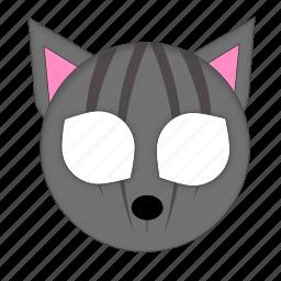 animal, cat, grey cat, mask, pet icon