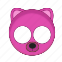 animal, bear, kawaii, mask, pet, pink icon