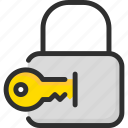 insert, key, lock, open, padlock, security icon