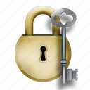 for, gold, key, padlock, silver icon