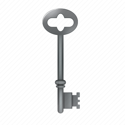 key, lock, old, silver icon