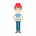 boy, cartoon, character, hat, kid icon
