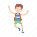 boy, character, jump, kid, student icon