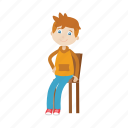 boy, kid, character, cartoon, sit