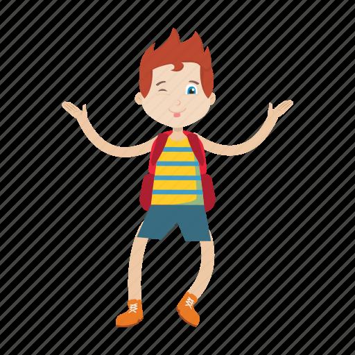 boy, character, jump, kid icon