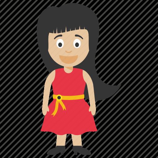 cartoon girl, child girl, kid cartoon character, kid cartoon girl icon