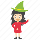 cartoon girl witch, child witch, kids cartoon character, little girl witch, witch cartoon character icon